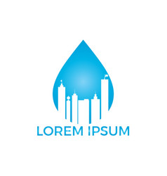 blue water drop and building logo design vector image