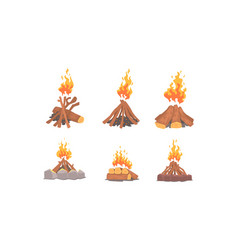 bonfire collection burning wooden logs campfire vector image