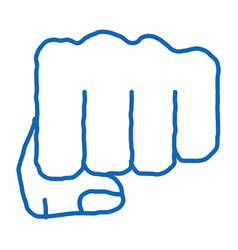 Boxer fist punch doodle icon hand drawn vector