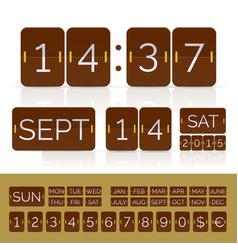 brown flat calendar with analog flip timer vector image