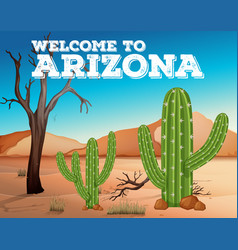 Cactus plants in arizona state vector