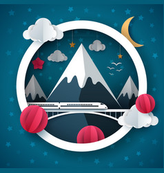 cartoon paper landscape travel train cloud vector image