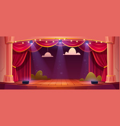 Cartoon theater stage with red curtains vector