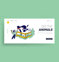 Child character spend time in animal petting park vector