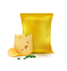 chips cheese onion and yellow plastic bag vector image