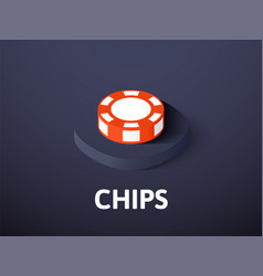 Chips isometric icon isolated on color background vector