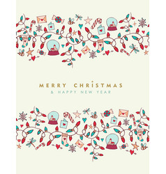 christmas and new year cute greeting card pattern vector image