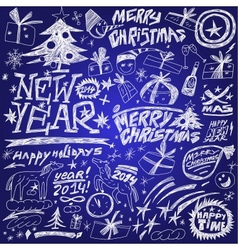 Christmas holidays New Year - doodles set vector image