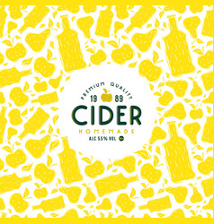 cider label and frame with pattern vector image