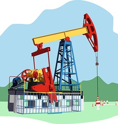 colored oil rig vector image