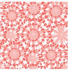 Coral pink abstract floral shibori circles vector