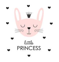 cute princess bunny in crown vector image