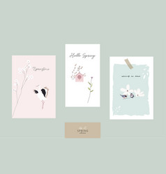 cute spring postcards with hand drawn florals vector image
