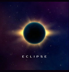 Dark abstract background with a solar eclipse vector