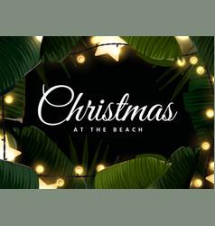 Dark tropical christmas on beach frame design vector