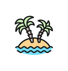 desert island with palm trees flat color line icon vector image