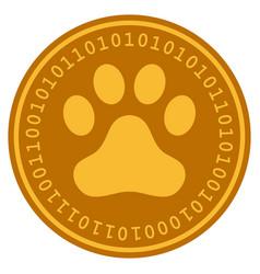Dog step digital coin vector