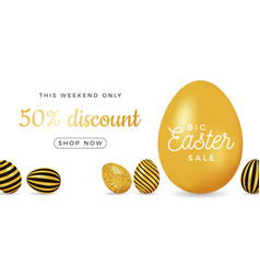 Easter egg horizontal banner easter big sale card vector