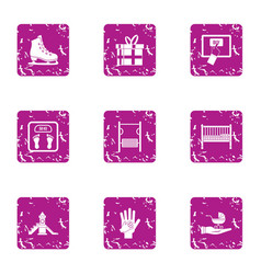 Enrichment icons set grunge style vector