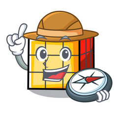 Explorer rubik cube mascot cartoon vector