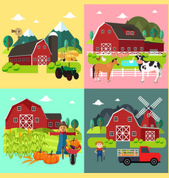 Farm life cliparts vector