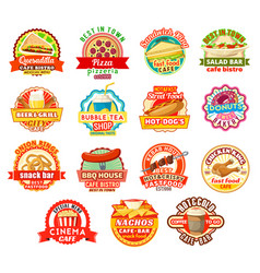 Fast food restaurant or fastfood cafe icons vector