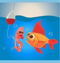 Fish and worm characters fishing vector