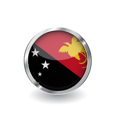 flag of papua new guinea button with metal frame vector image