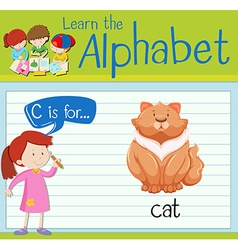 Flashcard alphabet c is for cat vector