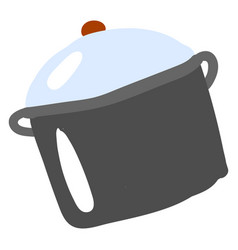 flat saucepan on white background vector image