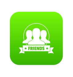 Friends icon green vector