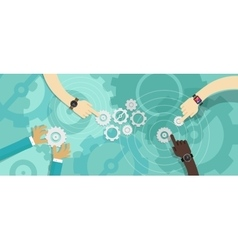 gear team work collaboration vector image