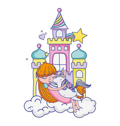 girl hugging cute unicorn in the castle vector image