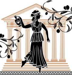 greek woman with olive vector image vector image