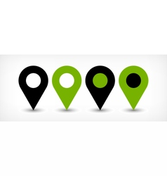 Green flat map pin sign location icon with shadow vector