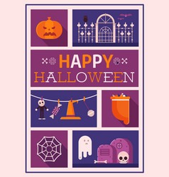 happy halloween postcard vector image