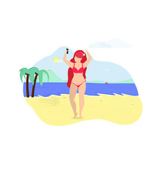 happy woman make selfie standing on summer beach vector image