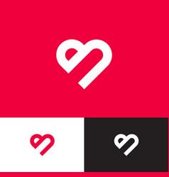 Heart logo letter b monogram like vector
