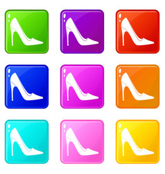 High heel shoe icons 9 set vector