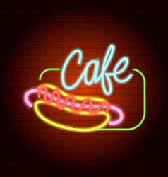 hot dog cafe neon light icon realistic style vector image