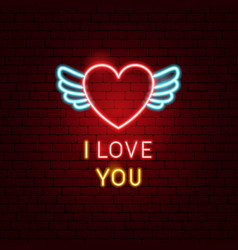 i love you neon label vector image