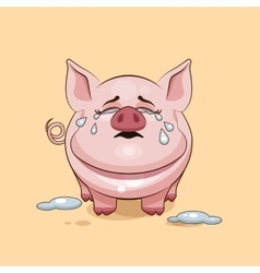 Isolated Emoji character cartoon Pig crying lot vector