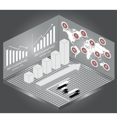 Isometric Chart and Graph Iconsmap and currency vector image