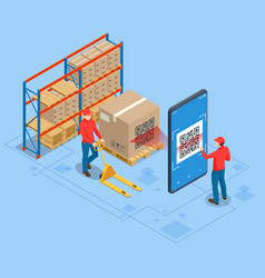 Isometric smart warehouse management system vector