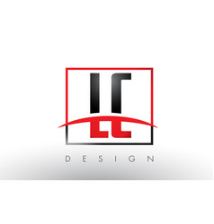 Lc l c logo letters with red and black colors and vector