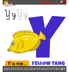 Letter y from alphabet with cartoon yellow tang vector