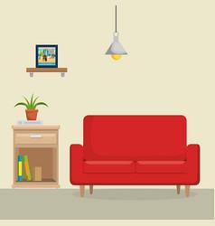 Livingroom with sofa scene vector