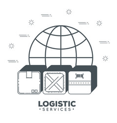 logistic services with sphere planet vector image