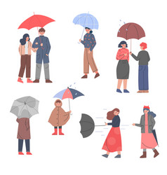 Male and female with umbrellas enjoying walk in vector