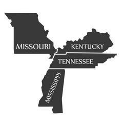 Missouri - kentucky - tennessee - mississippi map vector
